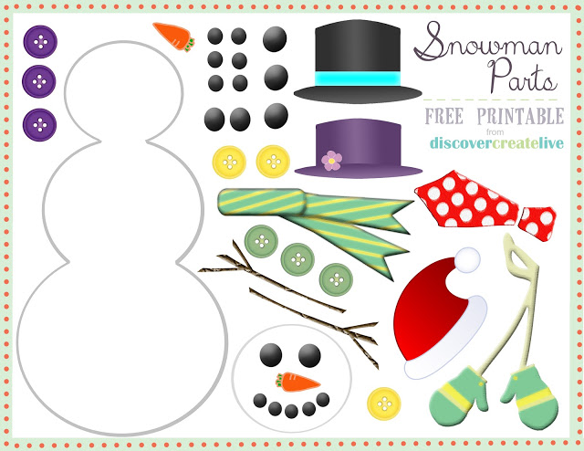 Graphic monday snowman parts assembly discover create for Snowman faces for crafts
