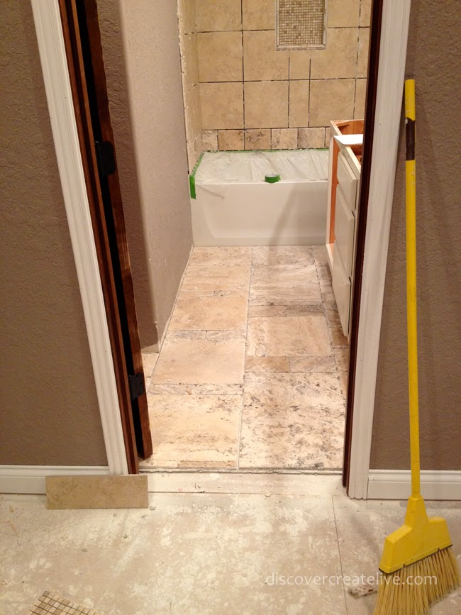 Preparing bathroom floor for tiling